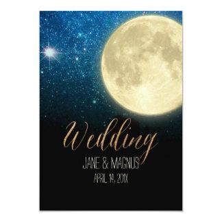 PixDezines Full Moon Midnight Sky/Collage NASA 13 Cm X 18 Cm Invitation Card