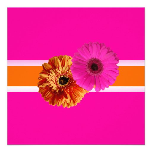 PixDezines Gerber, orage+passion pink/diy colors Personalized Invitations