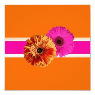 PixDezines Gerbera, orage+passion pink/diy colors 13 Cm X 13 Cm Square Invitation Card