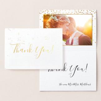 PixDezines Gold Confetti Thank You Foil Card