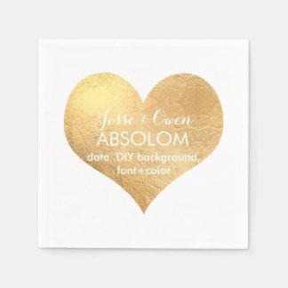 PixDezines gold heart/faux foil Paper Napkin