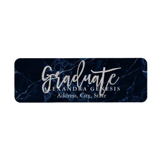 PixDezines Graduation/Faux Silver Script Font Return Address Label