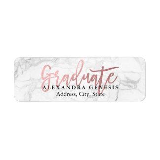 PixDezines Graduation/Rose Gold Script Font Return Address Label