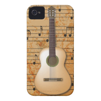 PixDezines Guitar+Vintage Sheet Music iPhone 4 Cover
