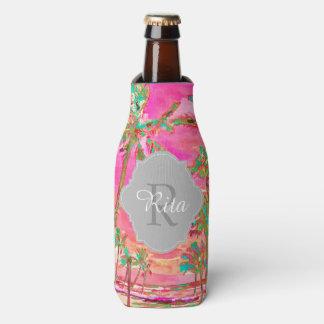 PixDezines Hawaii/Vintage/Beach/Pink/Teal Bottle Cooler