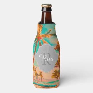 PixDezines Hawaii/Vintage/Beach/Teal Bottle Cooler