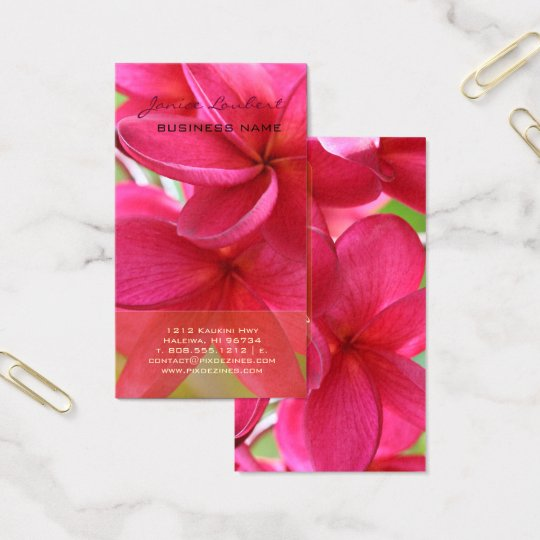 PixDezines HAWAIIAN HOT PINK PLUMERIA Business Card