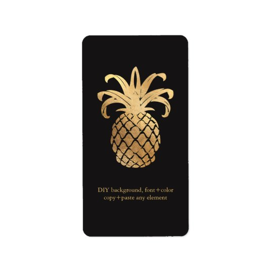 PixDezines HawaiianPineapple Faux Gold Wine Labels