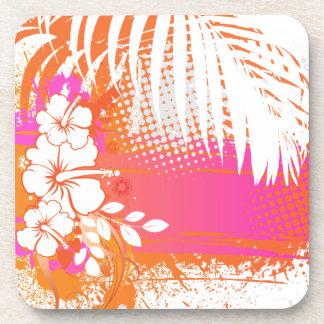 PixDezines hibiscus/DIY background color Beverage Coaster