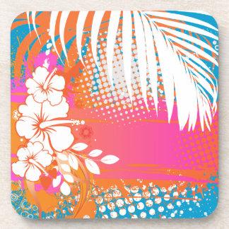 PixDezines hibiscus/DIY background color Drink Coasters