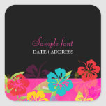 PixDezines hibiscus/diy background colour Square Stickers