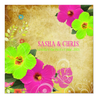 PixDezines hot pink+neon green hibiscus+monstera Card