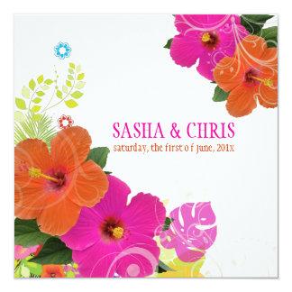 PixDezines hot pink+orange hibiscus/diy background 13 Cm X 13 Cm Square Invitation Card