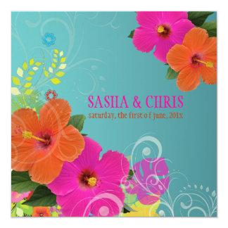 PixDezines hot pink+orange hibiscus+monstera 13 Cm X 13 Cm Square Invitation Card