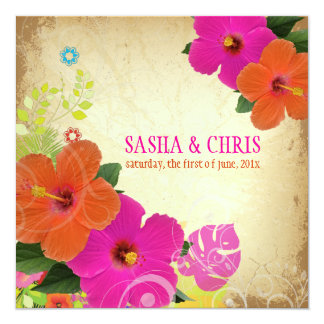 PixDezines hot pink+orange hibiscus+monstera Card