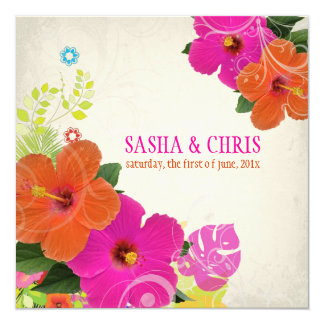 PixDezines hot pink+orange hibiscus+monstera Custom Invitations
