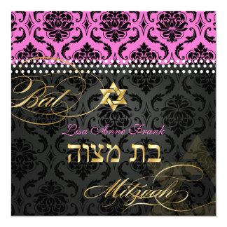 PixDezines Hot Pink Vendome Damask, Bat Mitzvah 13 Cm X 13 Cm Square Invitation Card