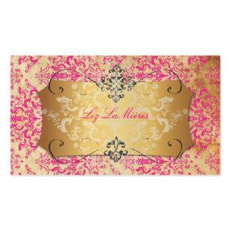 PixDezines Hot Pink/Vintage Étienne Damask Pack Of Standard Business Cards