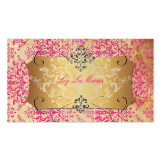 PixDezines Hot Pink/Vintage Étienne Damask Business Cards