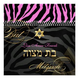 PixDezines Hot Pink Zebra Stripes Bat Mitzvah Personalized Announcement