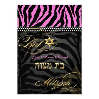 PixDezines Hot Pink Zebra Stripes Bat Mitzvah Personalized Invites