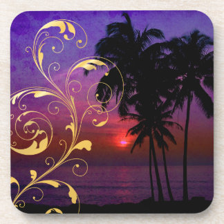PixDezines hula sunset+filigree swirls Coaster
