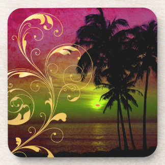 PixDezines hula sunset+filigree swirls Drink Coaster