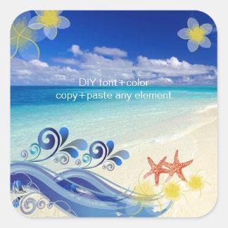 PixDezines Hula Wave/Plumeria/Starfish Square Sticker