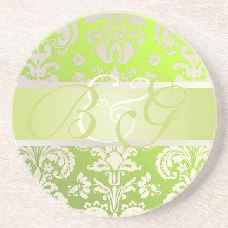 PixDezines Isabella Damask, Monogram Wedding Beverage Coasters