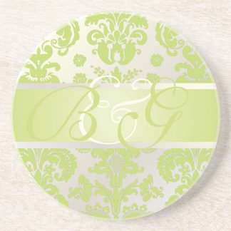 PixDezines Isabella Damask, Monogram Wedding Drink Coasters