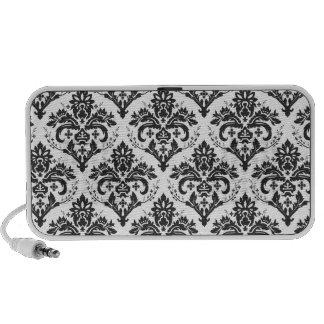 PixDezines Jolie Damask black+white Laptop Speaker