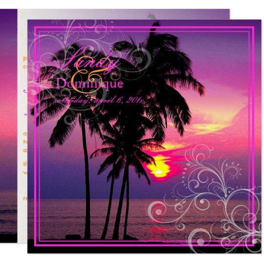 PixDezines Kaui Sunset+Swirls/tropical wedding Card
