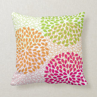 PixDezines kiku lime+orange/chrysanthemum Cushion