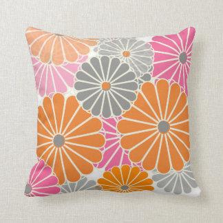 PixDezines kiku pink+orange/chrysanthemum Cushion
