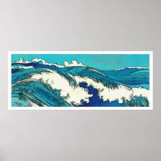 PixDezines konen uehara ocean waves, 上原 Poster