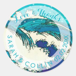 PixDezines konen uehara ocean waves, 上原 Round Sticker