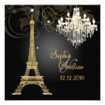 PixDezines La Tour Eiffel+Chandelier+Swirls Personalised Invitations