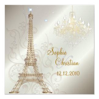 PixDezines LA TOUR EIFFEL/PARIS/CRYSTAL CHANDELIER 13 Cm X 13 Cm Square Invitation Card