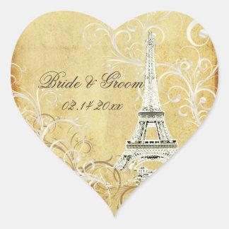 PixDezines la tour eiffel/paris Heart Sticker
