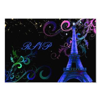 """PixDezines la tour eiffel/paris 3.5"""" X 5"""" Invitation Card"""