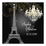 "PixDezines la tour eiffel/paris 5.25"" Square Invitation Card"