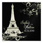 PixDezines La Tour Eiffel+Swirls 13 Cm X 13 Cm Square Invitation Card