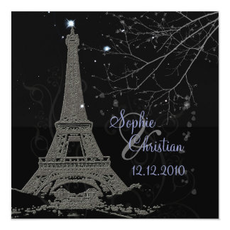 "PixDezines La Tour Eiffel+Swirls 5.25"" Square Invitation Card"