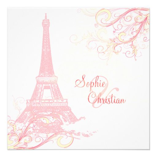 PixDezines La Tour Eiffel + swirls Custom Invite