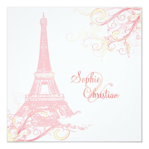 PixDezines La Tour Eiffel + swirls 13 Cm X 13 Cm Square Invitation Card