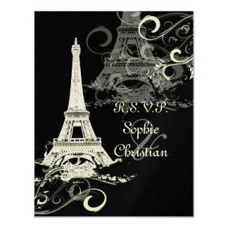 PixDezines La Tour Eiffel+Swirls 4.25x5.5 Paper Invitation Card