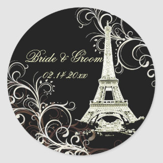 PixDezines La Tour Eiffel+Swirls Round Sticker