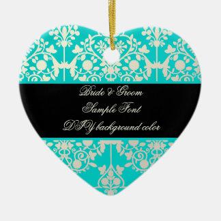 PixDezines leila damask/DIY background Ceramic Heart Decoration