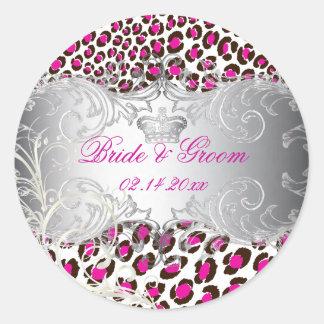 PixDezines Leopard+pearl swirls/magenta+grey Classic Round Sticker