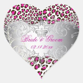 PixDezines Leopard+pearl swirls/magenta Heart Sticker